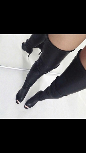 shoes leather thigh high boots
