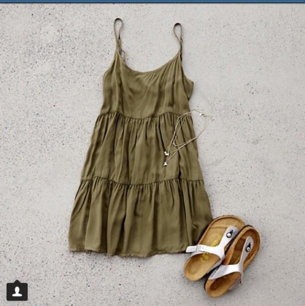 dress green dress pleated babydoll dress dress love