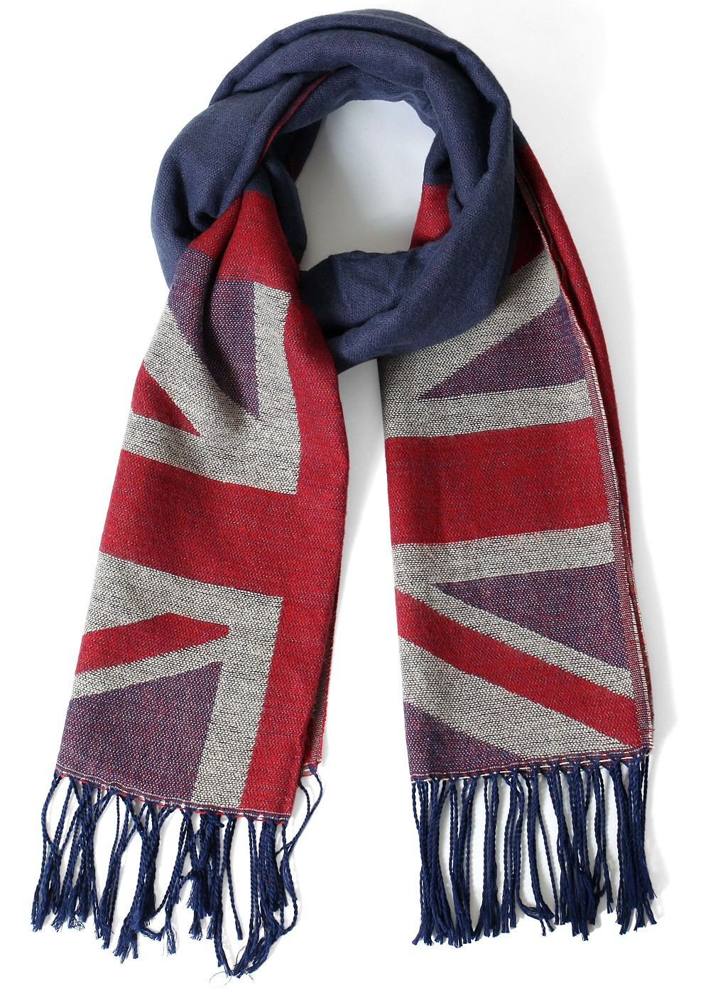 Flag print fringe scarf