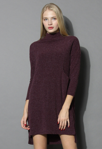dress basic ribbed knit dress in burgundy chicwish knitted dress