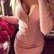 Women v-neck long sleeve zipper bodycon dress