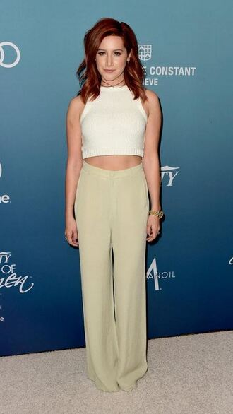pants top wide-leg pants ashley tisdale crop tops high waisted tights