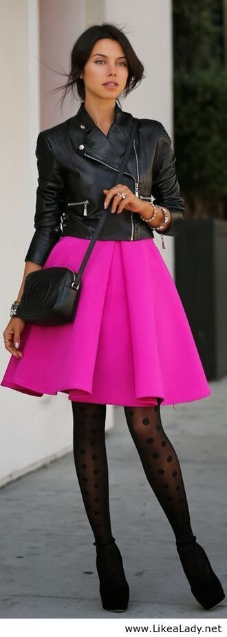 style fashion tights skirt leather jacket bones heels ankle boots high heel celebrity heels jacket