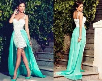 dress mint long dress sexy white summer prom lace maxi