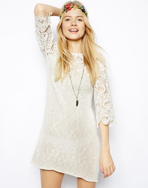 ASOS | ASOS Crochet Lace Dress In Slub Knit at ASOS