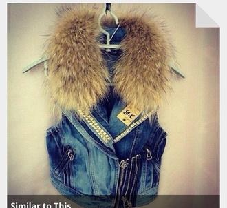 fur jacket denim vest
