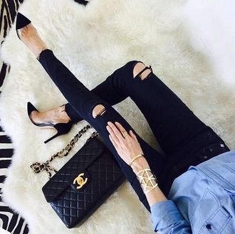 pants black jeans jeans with holes jewels jewelry bracelets cuff bracelet ring gold