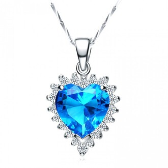 jewels heart crystal necklace heart jewelry prong setting blue heart cut cubic zirconia pendant 925 sterling silver necklace 925 sterling silver jewelry 925 sterling silver necklace evolees.com