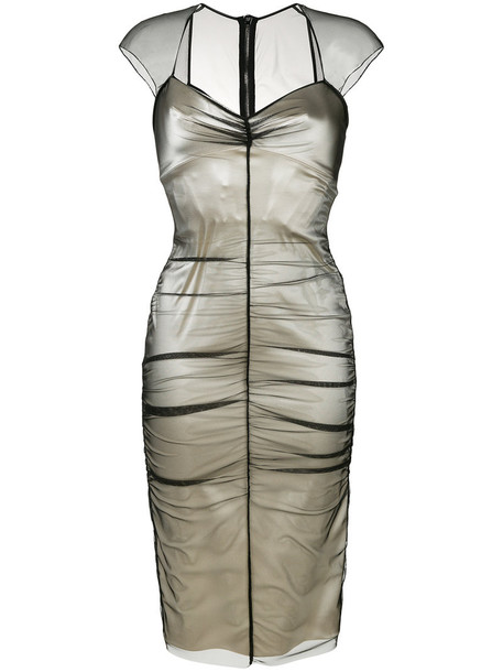 Tom Ford dress women spandex layered nude