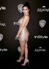 dress,charli xcx,mini dress,sexy dress,see through dress,gold dress,slip dress,sandals,sandal heels,high heel sandals,gold sandals,open back dresses,backless dress,singer,celebrity