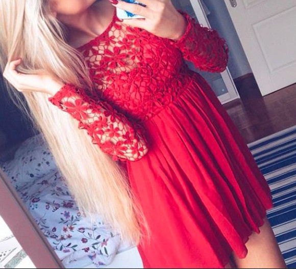 red mesh swingdress embroidered