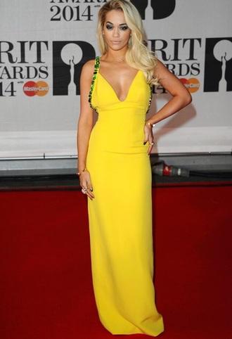 dress rita ora yellow yellow dress blonde hair sexy