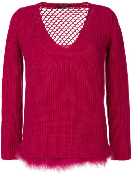Twin-Set jumper fur faux fur women wool purple pink sweater