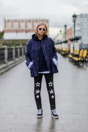 the fashion eaters,blogger,pants,jacket,sweater,sunglasses,shoes,vans outfits,black leather pants,leather pants,stars,blue jacket,hoodie,black hoodie,round sunglasses,fall outfits