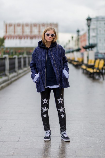 the fashion eaters blogger pants jacket sweater sunglasses shoes vans outfits black leather pants leather pants stars blue jacket hoodie black hoodie round sunglasses fall outfits