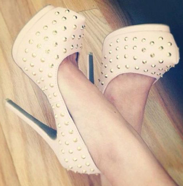 shoes white high heels studs sexy
