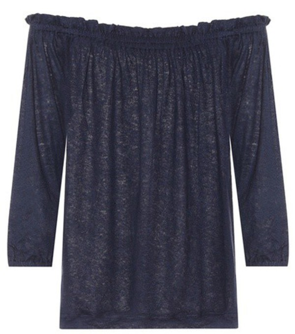 81hours Pin off-the-shoulder linen top in blue