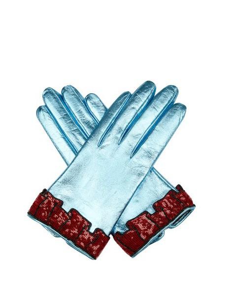 cuff leather blue jewels
