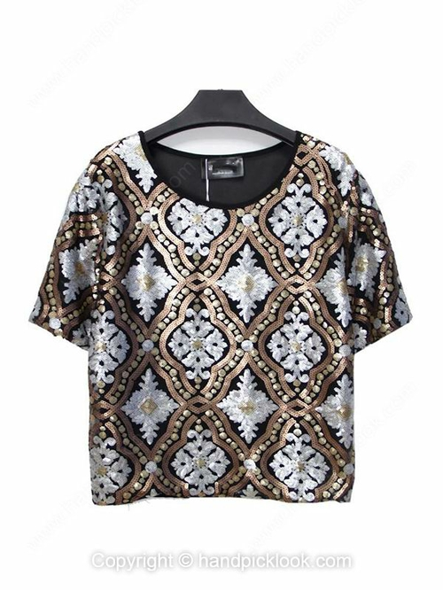 Black Round Neck Short Sleeve Sequined Loose T-Shirt - HandpickLook.com