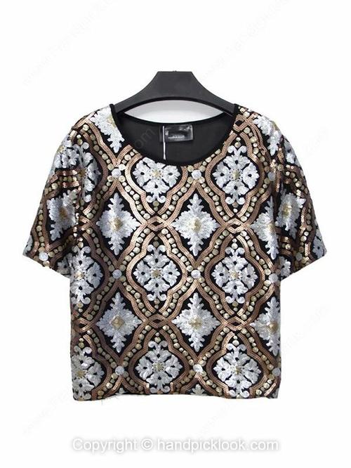 Black Round Neck Short Sleeve Sequined Loose T-Shirt - HandpickLook.com
