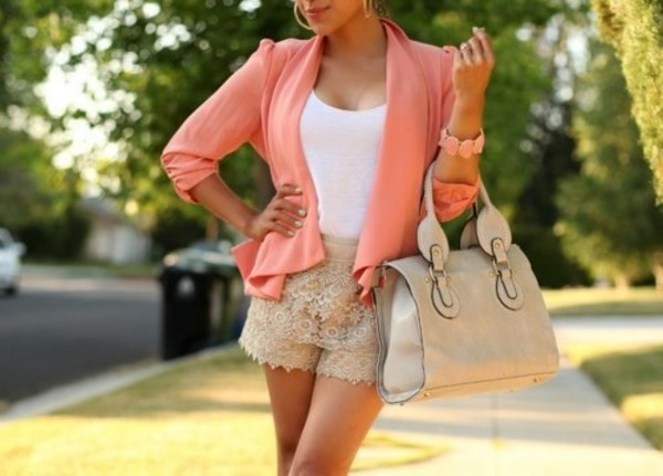 jacket shorts jewels watch background fall outfits summer outfits bag blouse