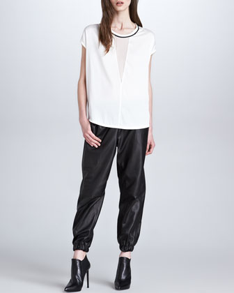 Robert Rodriguez Sheer-Inset Silk Top & Leather Elastic-Cuff Pants - Neiman Marcus