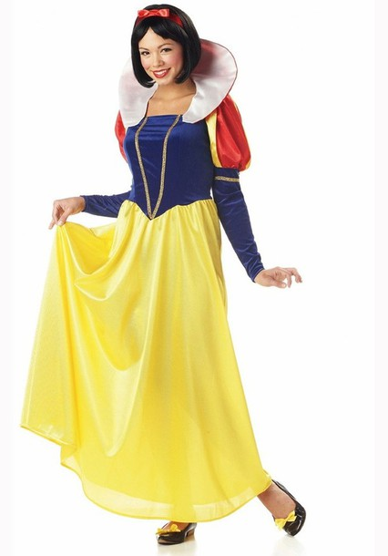 Dress: maxi dress, snow white, red dress, yellow, red, yellow ...