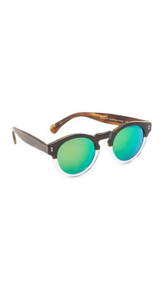 clear sunglasses mirrored sunglasses green