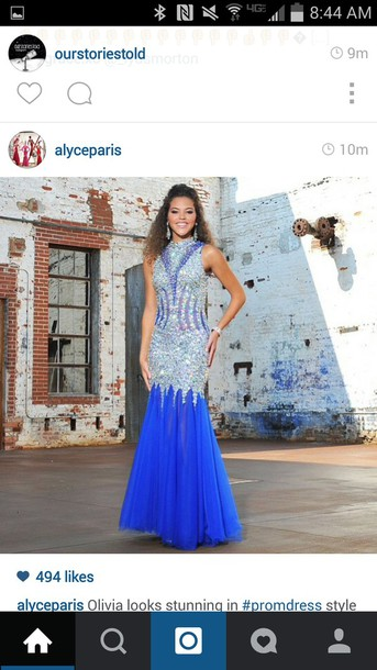 dress prom dress blue dress long dress sparkly dress