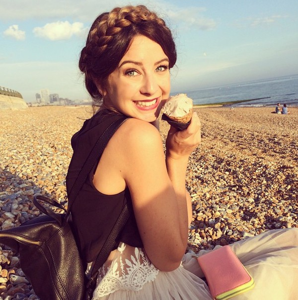 top zoella zoe suggest zozeebo tank top black top lace top black leather backpack leather bag ice cream tulle skirt wallet bag hairstyles