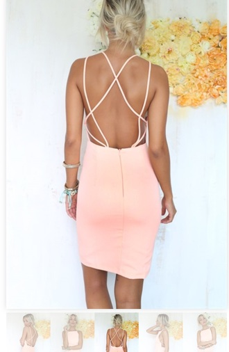 dress pink dress cute dress love backless dress