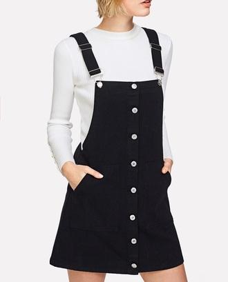 dress girly black dress black overalls overall dress button up