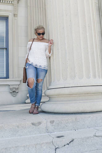 fashionably lo blogger shoes bag sunglasses off the shoulder white top lace top ripped jeans sandals shoulder bag brown bag white off shoulder top off the shoulder top white lace top long sleeves mesh top cuffed jeans blue jeans flat sandals silver low heel sandals silver sandals