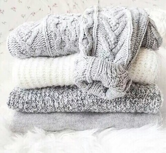 sweater knitted sweater grey sweater white