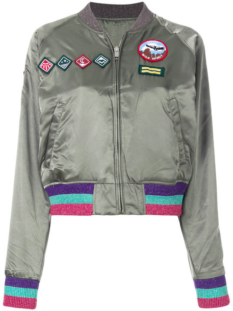 Diesel - patch bomber jacket - women - Polyester - XS, Green, Polyester