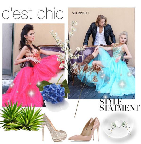 dress 2014 sherri hill 21168 strawberry prom dresses