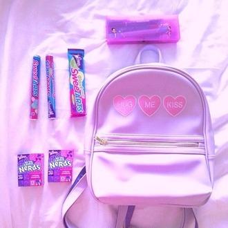bag pink candy coral backpack bookbag heart kiss hug nerd nerd fashion pastel fashion pastel goth scene goth pastel school bag kawaii bag