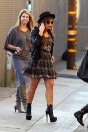 dress,demi lovato,jacket,hat,shoes
