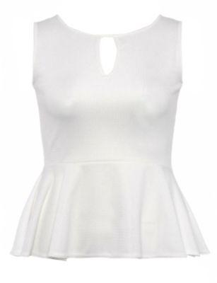 Sienna White Peplum Top
