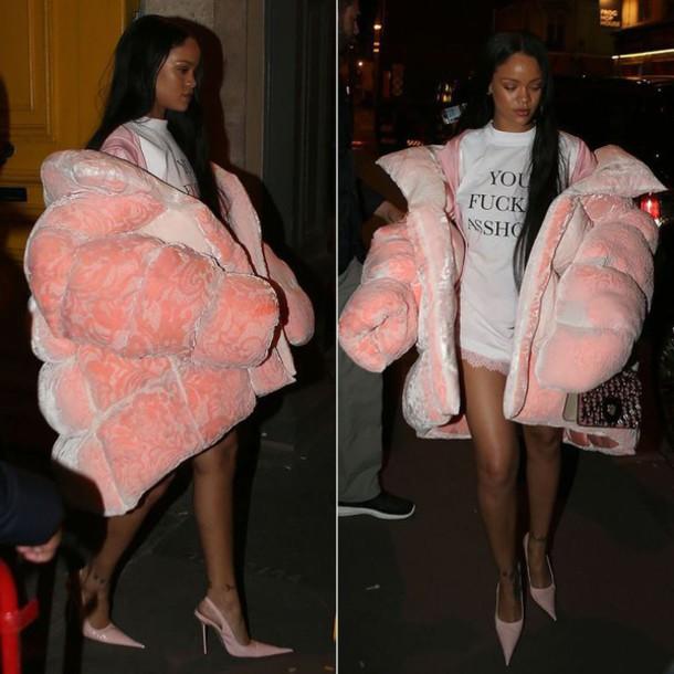 Jacket: fluffy, baby pink, pumps, rihanna, streetstyle ...