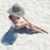 hat,tumblr,sun hat,swimwear,one piece swimsuit,white swimwear
