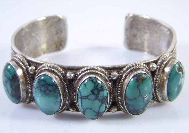 Handmade Tibetan Sterling Silver Turquoise Bracelet - Wishbop.com