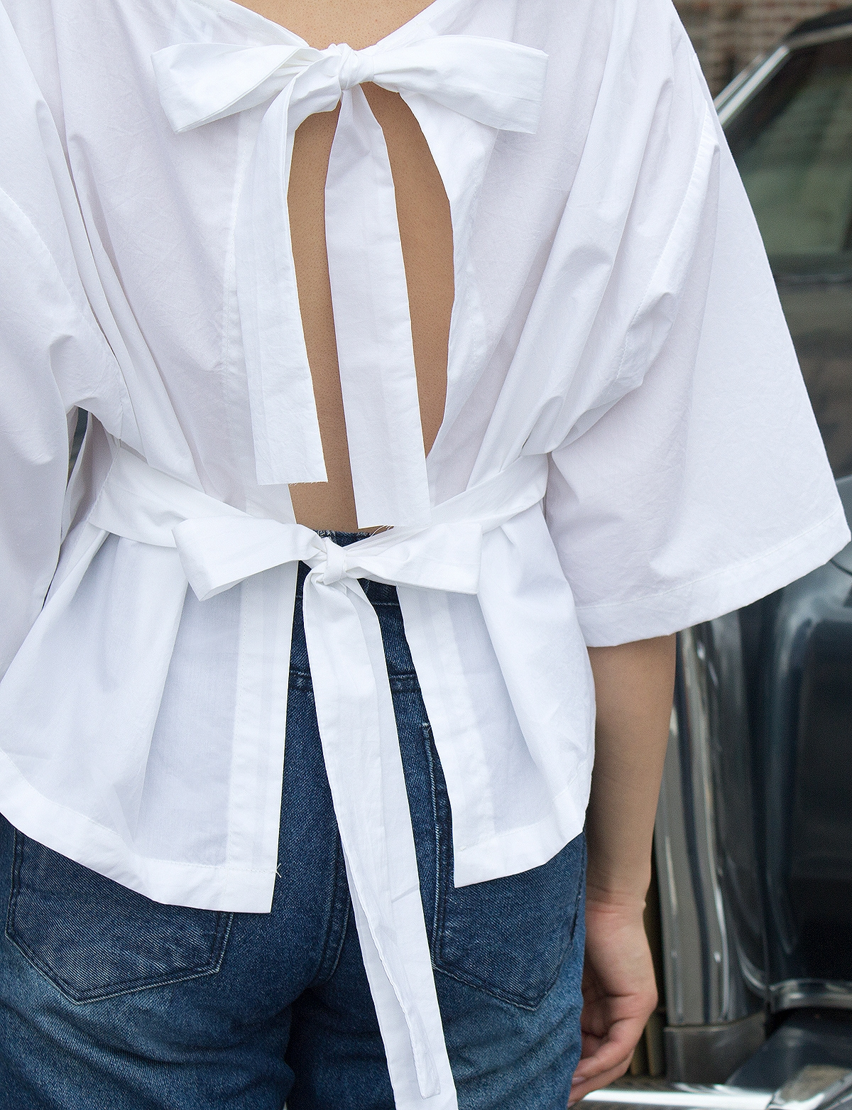 Tie back crop shirt white bow tie shirt for How to make a tie back shirt