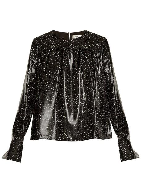 Diane Von Furstenberg top print silk white black