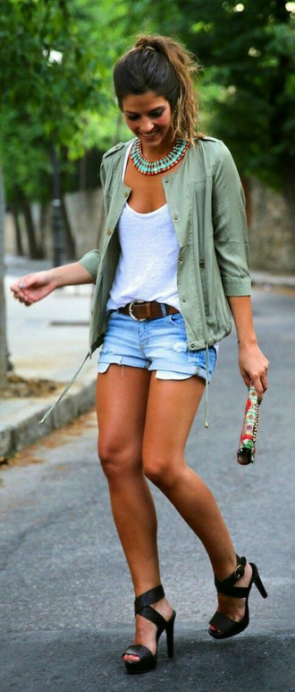 jacket jcket green spring short jeans beautiful shoes camouflage light outerwear throw over fall outfits outfit heels black pants blouse jewels necklace blue red outift coat big necklace army green jacket lovely cardigan