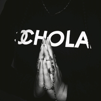 sweater t-shirt chola chanel t-shirt top witty cyber ghetto grunge alternative tumblr outfit tumblr shirt tumblr sweater rad dope chill cool fashion inspo outfit idea style stylish trendy blogger on point clothing shoes shirt chola channel black hoodie skirt