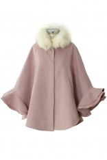 Detachable Faux Fur Collar Ruffle Cape in Pink - Retro, Indie and Unique Fashion