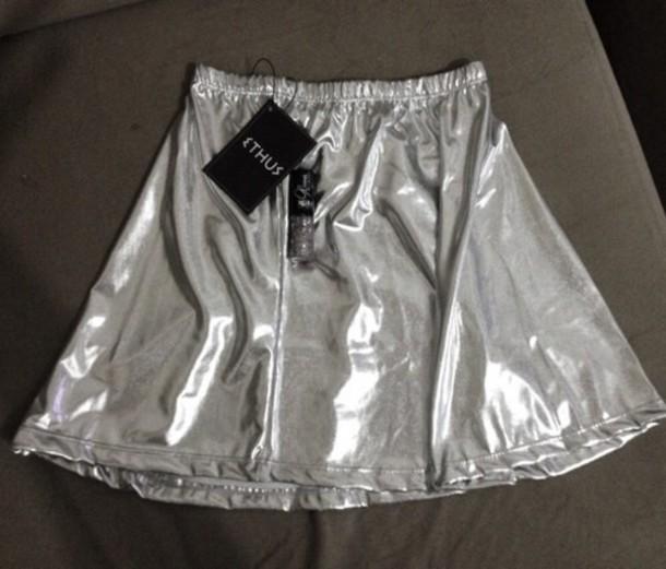 skirt metallic holograph holographic grunge silver metallic skirt