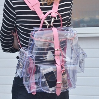 bag clothes transparent pink backpack fashion style shirt