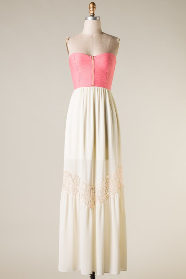dress ivory white chiffon pink zip maxi bustier lace hippie boho bohemian long pretty funny sexy happy outfit clothes clothes top bottom skirt blouse pants free people anthropologie
